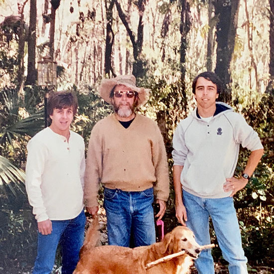 Dr. Gore with his two sons and a dog | Cypress Cove Landkeepers